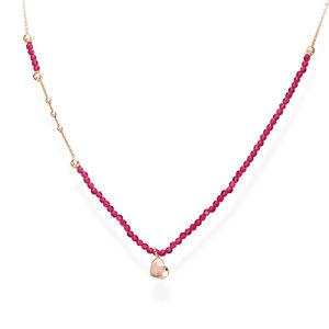 Amen Růžově pozlacený stříbrný náhrdelník s krystaly a srdcem Love CLCOCURR3