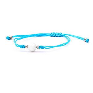 Beneto Šňůrkový modrý kabala náramek s pravou perlou AGB567