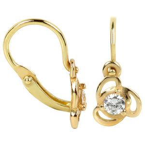 Brilio Dětské zlaté náušnice s čirým krystalem 236 001 00950