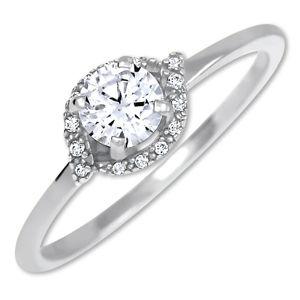 Brilio Okouzlující zásnubní prsten z bílého zlata 229 001 00804 07 55 mm