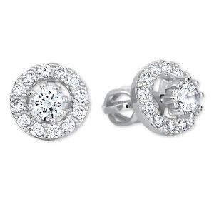 Brilio Kulaté náušnice z bílého zlata s krystaly 2v1 239 001 00860 07