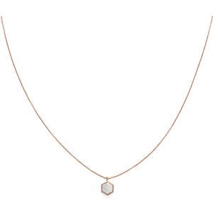 Cluse Růžově pozlacený náhrdelník s hexagonem CLJ20008