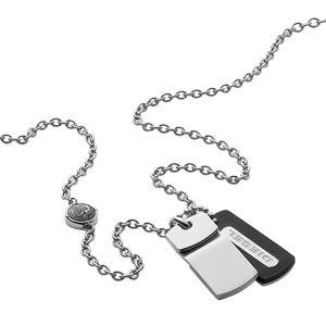 Diesel Pánský ocelový náhrdelník s kůží DX0973040