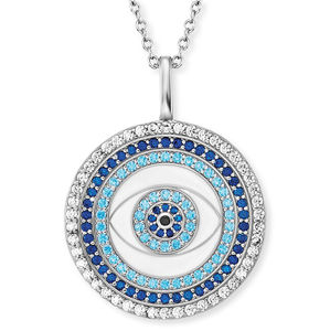 Engelsrufer Stříbrný náhrdelník Oko štěstí se zirkony ERN-EYE-ZIM