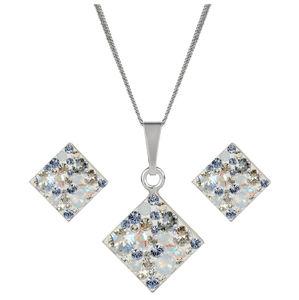 Evolution Group Stříbrná souprava třpytivých šperků 39126.3 (náušnice, řetízek, přívěsek)