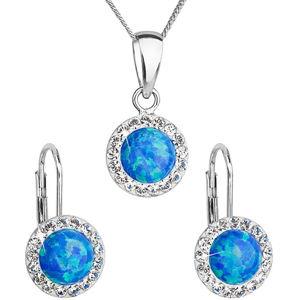 Evolution Group Třpytivá souprava šperků 39160.1 & blue s.opal (náušnice,řetízek,přívěsek) (náušnice, řetízek, přívěsek)