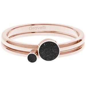 Gravelli Sada ocelových prstenů s betonem Double Dot bronzová/černá GJRWRGA108 50 mm