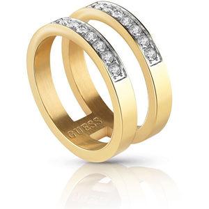 Guess Dvojitý pozlacený prsten s krystaly UBR78007 54 mm
