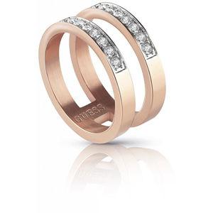 Guess Dvojitý růžově pozlacený prsten s krystaly UBR78008 52 mm