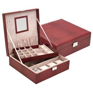 JK Box Nízká červená šperkovnice SP-1812/A7
