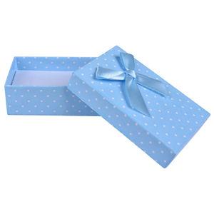 JK Box Světle modrá puntíkatá krabička na soupravu šperků KK-6/A13
