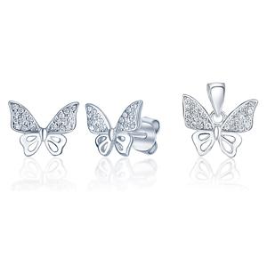 JVD Stříbrná sada šperků Motýlci (přívěsek, náušnice) SVLS0020SI2BI00