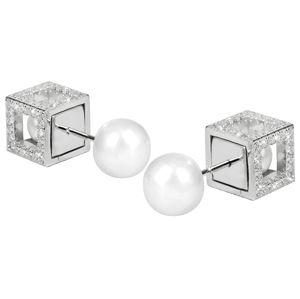 JwL Luxury Pearls Stříbrné dvojnáušnice Cube s pravými perlami JL0323