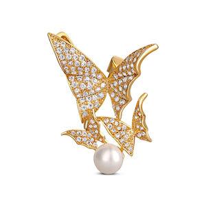 JwL Luxury Pearls Překrásná pozlacená brož s pravou perlou - motýlci JL0630
