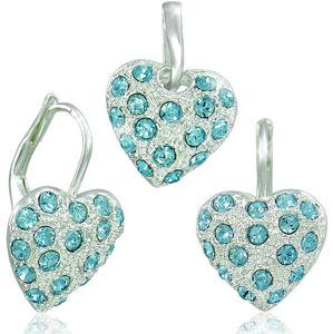 MHM Set šperků Srdíčko Aquamarine 34115 (náušnice, řetízek, přívěsek)