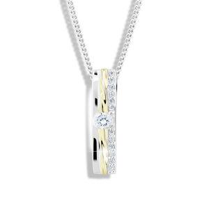 Modesi Bicolor stříbrný náhrdelník se zirkony M46025 (řetízek, přívěsek)