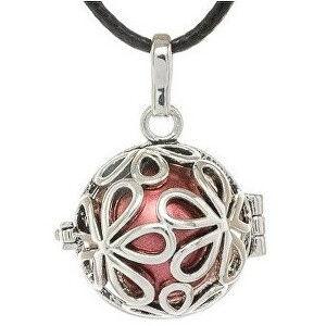 MUMMY BELL Dámský náhrdelník rolnička Velké kytičky - červená K3C18