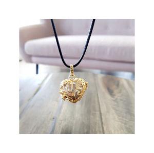 MUMMY BELL Pozlacený náhrdelník Rolnička Srdíčko K13ZS18
