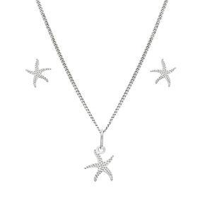 Praqia Jemná stříbrná sada Mořská hvězdice SE1330_CU035_40_NA0592_RH  (řetízek, přívěsek, náušnice)