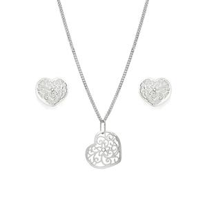 Praqia Romantická stříbrná sada Srdce SE1750_CU040_50_NA0846_RH  (řetízek, přívěsek, náušnice)