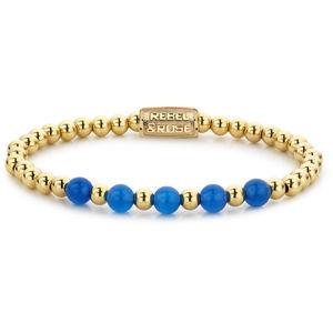 Rebel&Rose Zlatý korálkový náramek Yellow Gold meets Brightening Blue RR-60066-G 16,5 cm - S