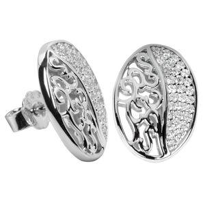 Silver Cat Stříbrné náušnice s krystaly SC045