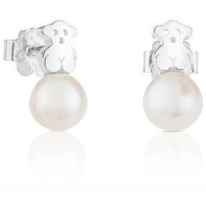 Tous Stříbrné drobné náušnice s medvídkem a pravou perlou 615270135