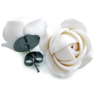 Troli Bílé náušnice puzetky kytičky