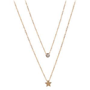 Troli dvojitý náhrdelník s hvězdičkou z pozlacené oceli TO2143