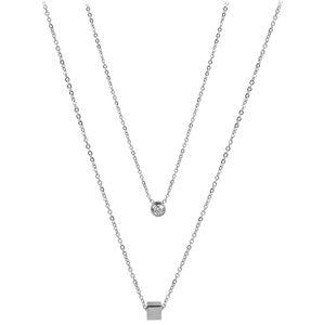 Troli dvojitý náhrdelník s kostičkou z oceli TO2142