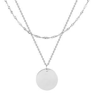 Troli Dvojitý ocelový náhrdelník s kruhovým přívěskem