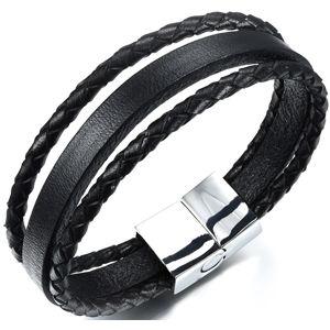 Troli náramek z kožených pásků Leather SW-BL092