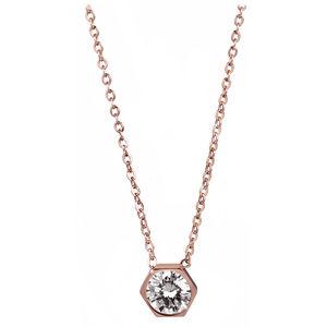 Troli Růžově pozlacený ocelový náhrdelník s hexagonem TO2203