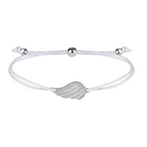 Troli Šňůrkový náramek s andělským křídlem bílá/ocelová TO2559