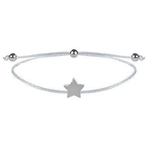 Troli Šňůrkový náramek s hvězdičkou bílá/ocelová TO2529
