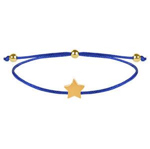 Troli Šňůrkový náramek s hvězdičkou modrá/zlatá TO2535