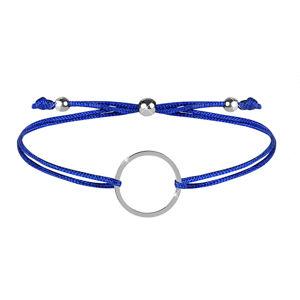 Troli Šňůrkový náramek s kruhem modrá/ocelová TO2472