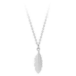 Troli Stylový ocelový náhrdelník s peříčkem