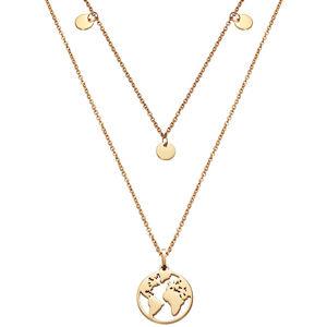 Viceroy Dvojitý náhrdelník s mapou světa Kiss 15017C01012