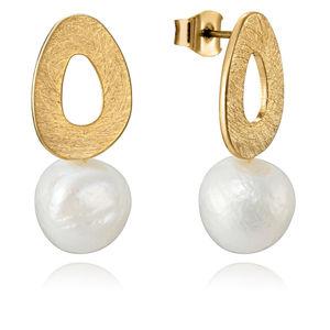 Viceroy Elegantní pozlacené náušnice s perlou Fashion 15048E01012