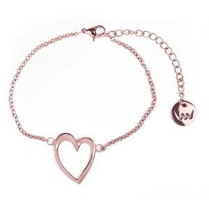 Vuch Romantický bronzový náramek Srdce Little Wish Gold